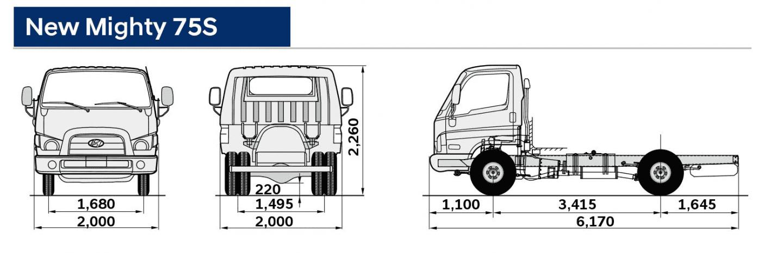Bản vẽ kích thước xe tải Hyundai 1,9 tấn